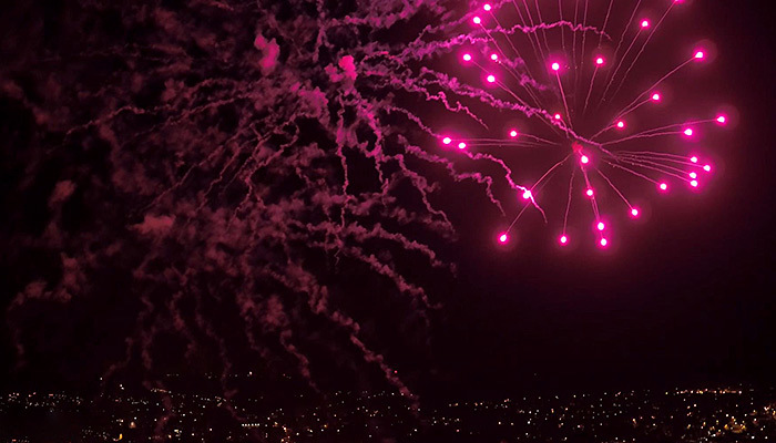 Night Aerial Video in Dorset with Fireworks