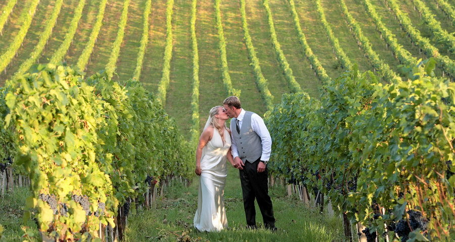 Wedding Portraits in Tuscan Vineyard in Italy