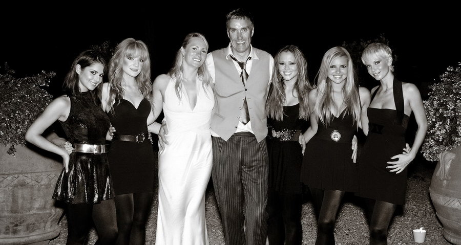 Girls Aloud Posing With Couple at Italian Wedding