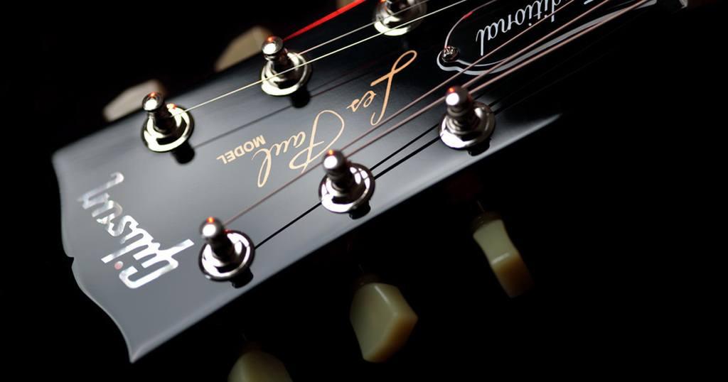 Close Up of Les Paul Electric Guitar Headstock