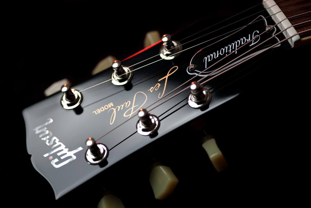 Close Up of Les Paul Electric Guitar Headstock