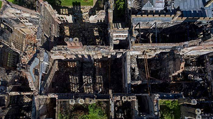 Burned Out Roof of Parnham House