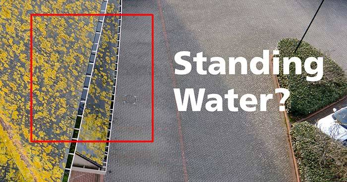 Drone Survey Finds Standing Water in Gutters Due to Blockage