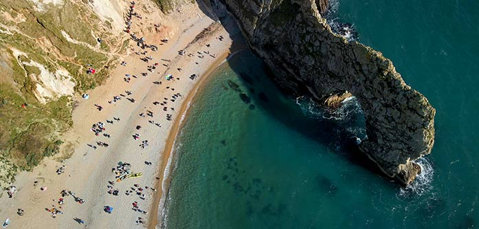 Rib Rides to Durdle Door and Beach. View from the Air